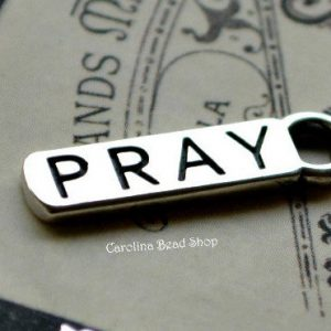 PRAY - Sterling Silver word tag  - WHOLESALE PRICE, Stamping,Sterling SIlver Word Tag, Charm, Pendant, Words