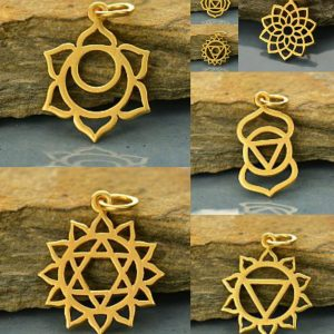 Chakra Charms & Love Charm Holder -  Gold Plated,  Zen, Yoga, Meditation