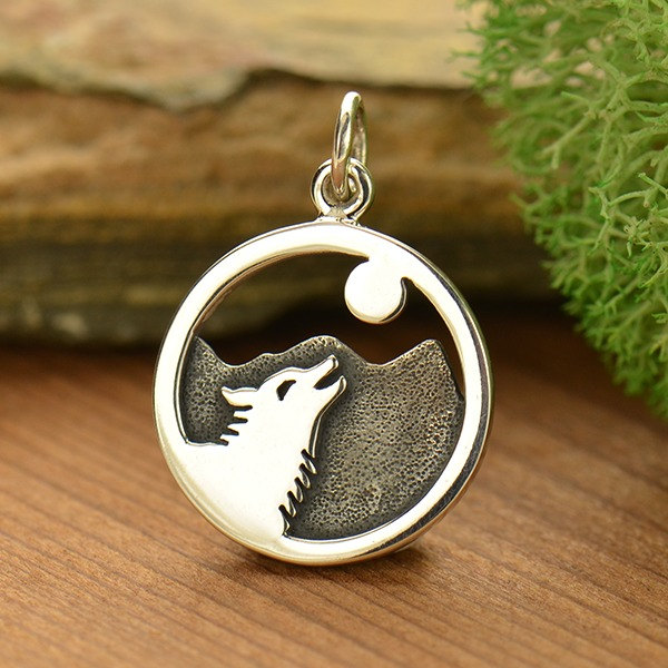 Wolf Howling at Moon Charm Sterling Silver - C1759, South Western, Native American, Spirit, Dreams, Meditation