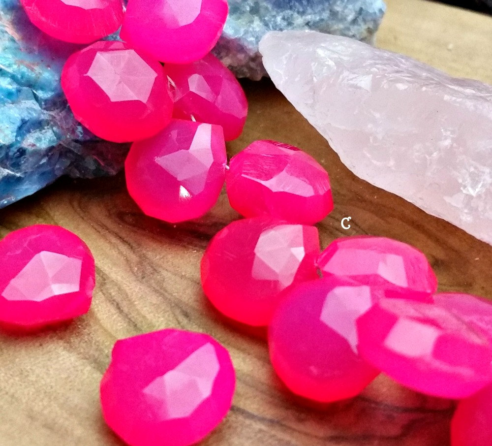 Chalcedony Briolette Hot Pink Beads 10-13mm heart briolettes 85 carats 6 PSC
