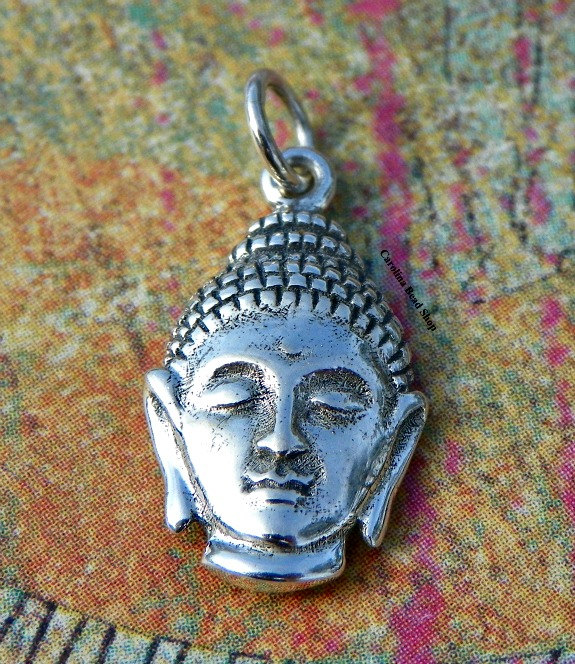 Sterling Silver Buddha Head Charm - C805, Yoga Spirit Charms