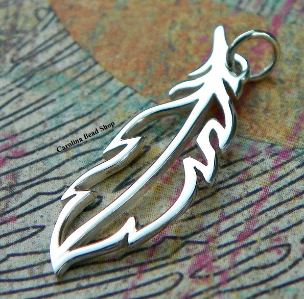 Sterling Silver Openwork Feather Charm - Bird Wing, Feather Charms, Aviary