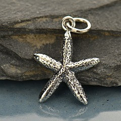 Skinny Starfish Charm Sterling Silver  - C1349, Nautical, Beach, Seashell, Sealife
