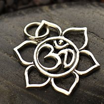 Small Sterling Silver Lotus with Ohm Center - C1363, Zen, Flower, Meditation, Spiritual
