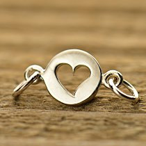 Tiny Cutout Heart Link - C1376, SALE, Sterling Silver, Connector, Sideways Charms, Bracelet Links