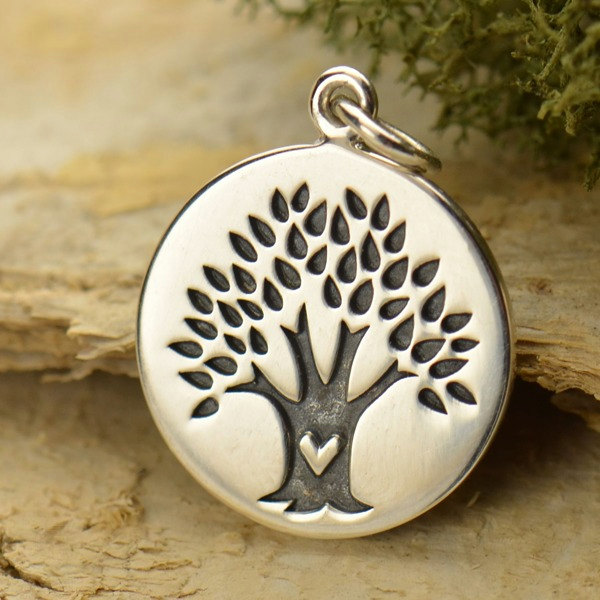 Sterling Silver Tree with Heart Disc Charm - C1490, End of Year Sale, Family, Children, Love, Bonding, Ancestry