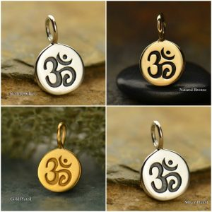 Ohm Symbol Charm - C646, Parnava, Meditation Symbol, Choose From Sterling Silver, Gold Plated, Silver Plated Or Natural Bronze