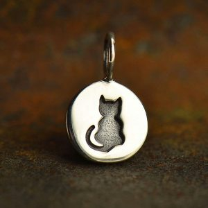 Etched Kitty Cat Charm - C1561, Pet Charms, Animals, Pet Lovers, Stamped Charms