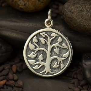 Etched Tree of Life Charm Sterling Silver  - C1576, Family, Children, Mom, Nana, Grandma, Love, Life, Unity