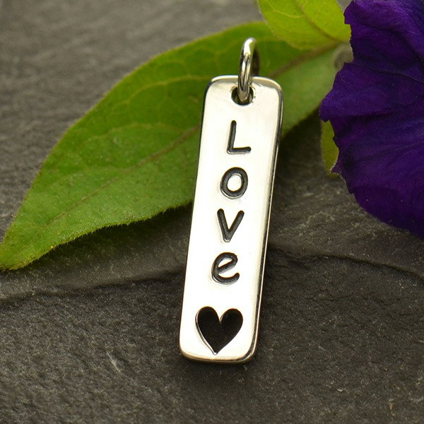 Love Word Charm with Heart Cut Out - Vertical, Sterling Silver, C1595, Word Charms, Stamped Charms, Gift for Mom