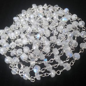 Moonstone 3mm Sterling Silver Hand Wrapped Chain, Sold by Ft.