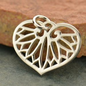 Egyptian Leaf Charm Sterling Silver - C575