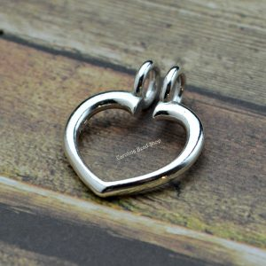 Heart Ring Keeper Pendant Sterling Silver  - C9255, Heirloom, Ring Charm Holder, Treasures