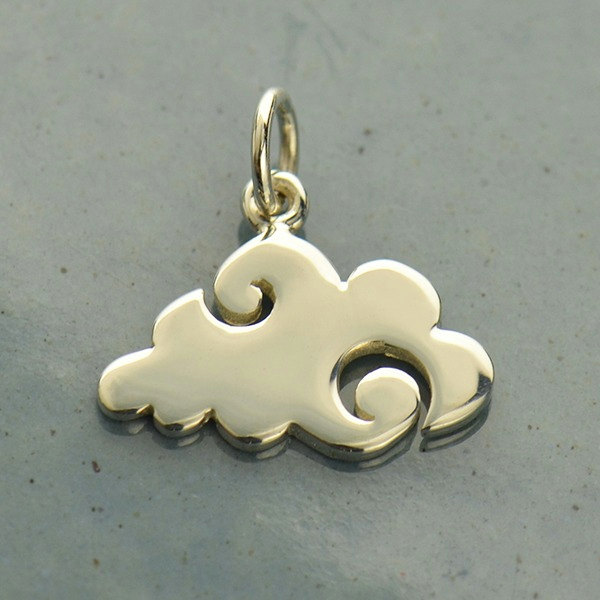 Sterling Silver Flat Plate Cloud Charm -  C1616, Joyfulness, Cheer, Cumulus Clouds, Celestial