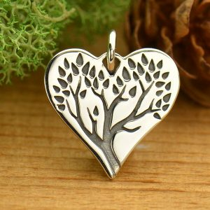 Etched Tree of Life Heart Charm - Ancestry, Family, Children, Heirloom Charms