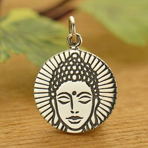 Etched Buddha Head Charm - Sterling Silver, C1674, Buddhist, Yoga Spirit Charms, Meditation, Zen