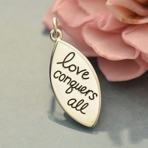 Love Conquers All Charm - C1688, Sterling Silver, Stamped Word Charms, Design Ideas Lets Get Creative