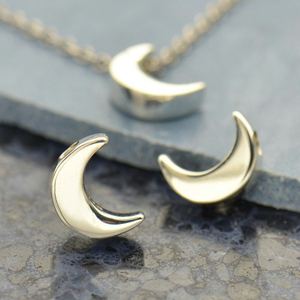 Small Silver Plated Bronze Moon Bead  -  CP1645, Celestial Charms