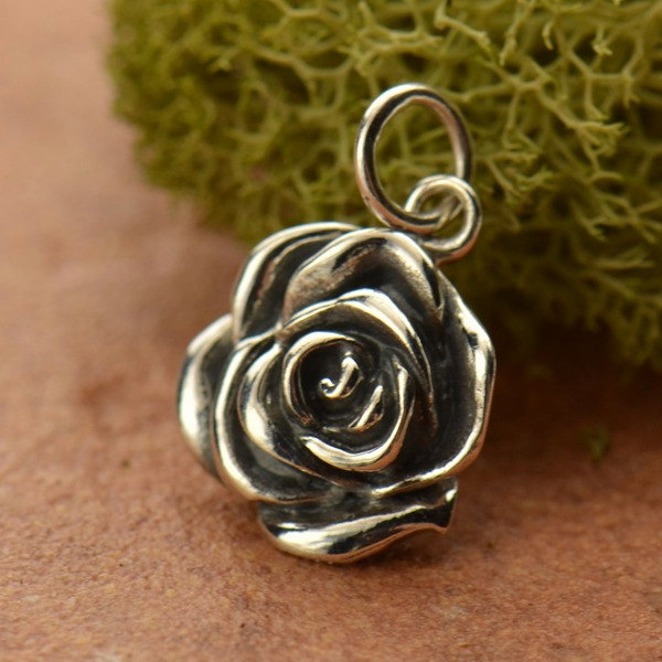 Sterling Silver Rose Charm - C1163, Woodlands, Flower Charms