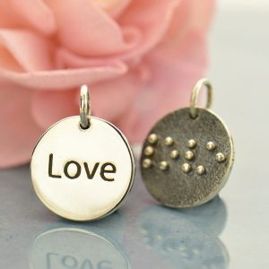 Braille Love Charm - C6010, Stamped Word Charms