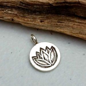 Lotus pendants carolinabeadshop hill tribe silver lotus imprint pendant 14mm audiocablefo
