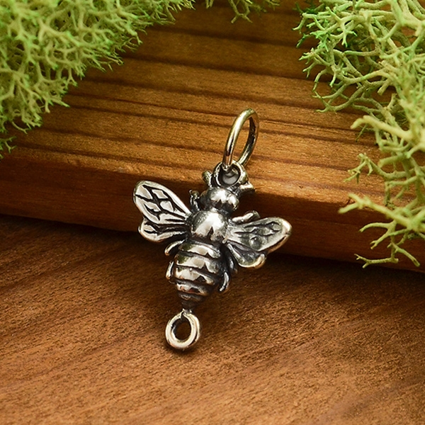 sterling silver /& 24k gold plate bronze bee charm Honeybee /& Honeycomb necklace